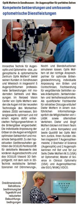 Augenoptisches und optometrisches Zentrum Optik Mattern - Ihr Optiker in Wiesloch und Sandhausen. Presseartikel: Neuer Augenprüfraum bei Optik Mattern in Sandhausen.